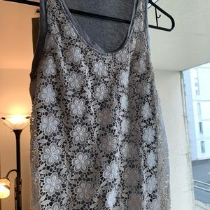J crew embroidered floral gray top